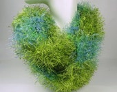 Scarf Hand Knitted Fun Fur Lime Green and Blue