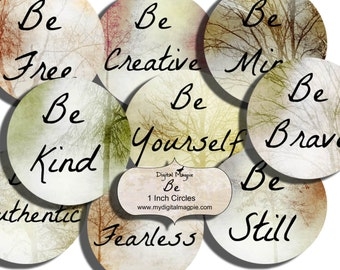 1 inch circles Inspirational quotes digital collage sheet pendant images printable trees sayings round words jewelry crafts instant download