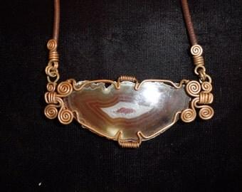 Agate with Copper Wirewrap