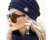 Royal Blue  Bohemian Chic Hand Crocheted  Hat  women teens  fall autumn winter fashion accessories