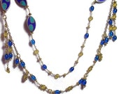 Asymmetric Necklace - Mosaic Medallions - Blue & Gold Wire Wrapped Beads- handcrafted gift