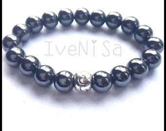 men bracelet. unisex bracelet. stretch bracelet. Hematite bracelet. elastic bracelet. hematite bead. men bracelet. handmade bracelet.