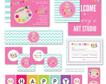 Painting Party Printables - Art Party Decorations - Art Party Invitation - Art Party Favors - Painting Party Printables