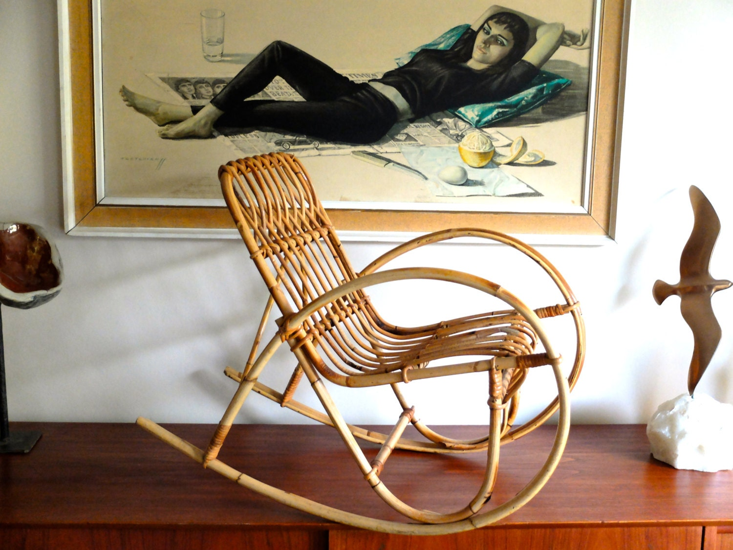 Vintage french bamboo rocking chair armchair for kids 50s for Fauteuil rocking chair