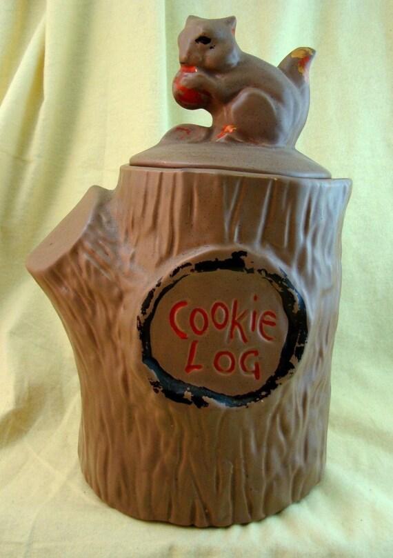 Vintage Mccoy Cookie Jar Squirrel On Stump Cookie Log 1971