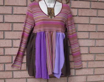 Size Medium Womens Tunic, Free People, Mori Girl, Eco Friendly, Upcycled, Long Sleeve, Striped, Hippie, Shabby Chic, Boutique, Artfullyou,
