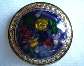 Vintage Unsigned Lightweight Domed Purple Flower Brooch/Pin