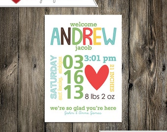 Baby Announcement: Baby Boy Andrew Jacob Custom Non-Photo Digital Birth Announcement