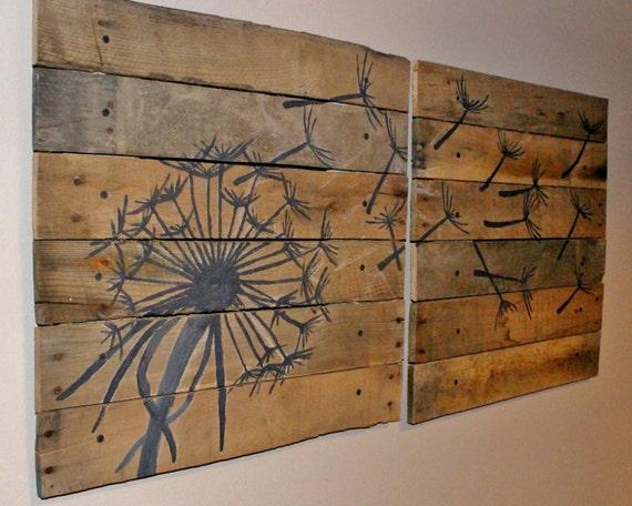 Dandelion Wall Art,Pallet Art,21x21, 2 Piece,Blowing Dandelion,Dandelion Art ,Dandelion Painting,rustic Wood Planks,reclaimed Wood,flower Art Part 22