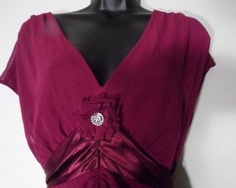 Liz Claiborne Pant Suit Broache Satin Size 14 Blouse Tunic Plum Wine Red
