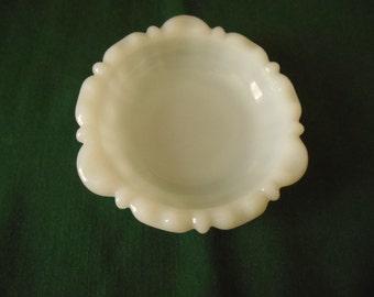 Anchor Hocking Ashtray,  5.5 inch White Milk Glass, Has Anchor Trademark