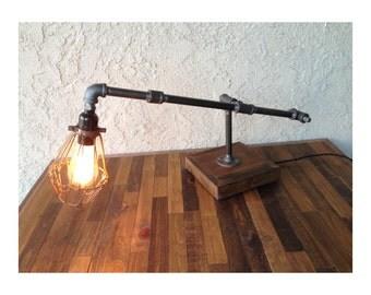 Edison Trouble Light Desk Lamp, Steel Pipe, Reclaimed Wood Base - BULB INCLUDED / Vintage Industrial Lamp / Steampunk Light / Desk Lamp