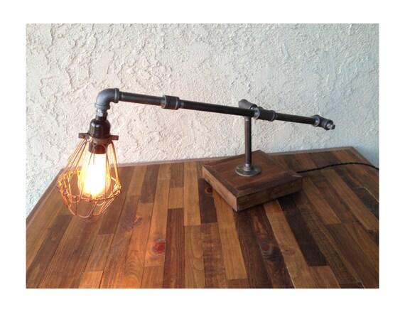 items similar to edison trouble light desk lamp steel pipe reclaimed wood b. Black Bedroom Furniture Sets. Home Design Ideas