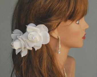 Set Of 2 White Bridal  Flower Hair Clips Wedding Hair Clip  Wedding Accessory Bridal Accessory