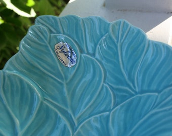 Vntage Turquoise Leaf Shaped Serving Dish Candy Dish Sylvan's of California