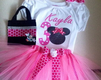 Girls Minnie Mouse inspired birthday Tutu outfit -girls