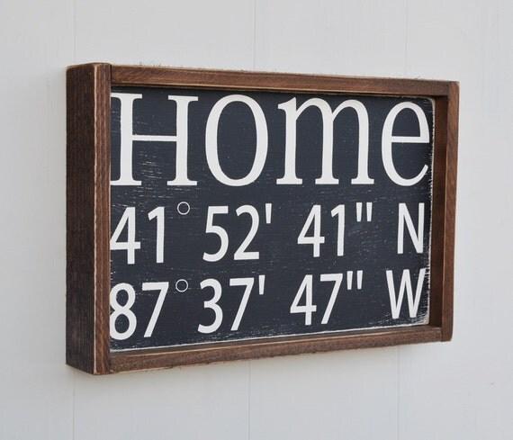 Home Decor Sign House Warming Gift Latitude Longitude Sign Custom