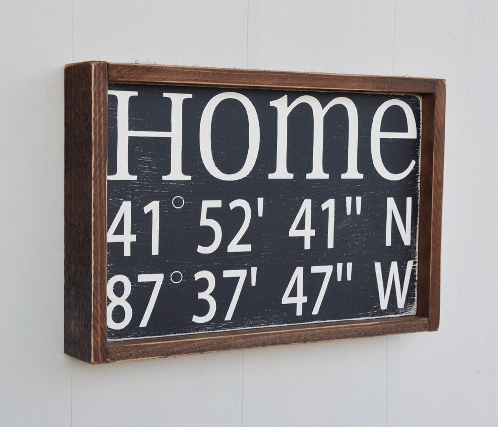 Home Decor Sign House Warming Gift Latitude Longitude Sign