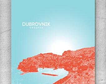 Dubrovnik Croatia Skyline Print / Home Decor Art Poster / Unique Housewarming Gift / Any City Available