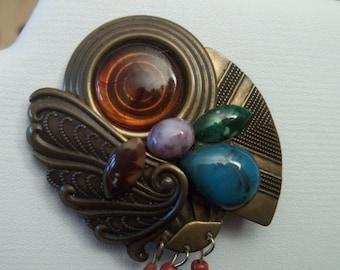 1980s funky brooch and earrings set
