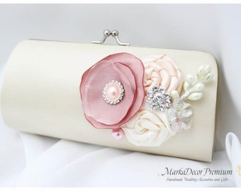 Bridal Wedding Clutch Flower Handmade Brooch Bridesmaids Purse with Handmade Flowers, Crystals, Pearls in Ivory, Nude and Dusty Pink