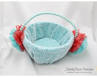 READY TO SHIP Lace Wedding Flower Girl Luxury Basket Bridal Custom Beach Wedding with Brooch Crystals Flowers in Aqua Seafoam Blue Coral