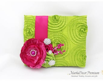 READY TO SHIP Wedding Lace Guest Book Custom Bridal Flower Brooch Guest Books in Lime Green, Fuchsia, Hot Pink