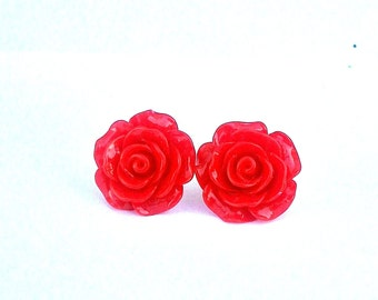 Red Rose Fantasy Stud Earrings