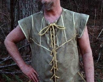 Men's Renaissance, Celtic, Viking, Medieval, Dark Ages Doublet/Vest Suede One Green Custom made to fit...