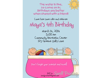 Pool Party Invitation Pool Birthday Invitation Swimming Birthday Invitation Pool Birthday Party