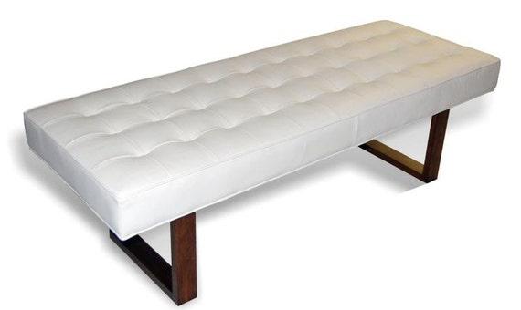Retro Modern White Genuine Leather Bench Ottoman Coffee
