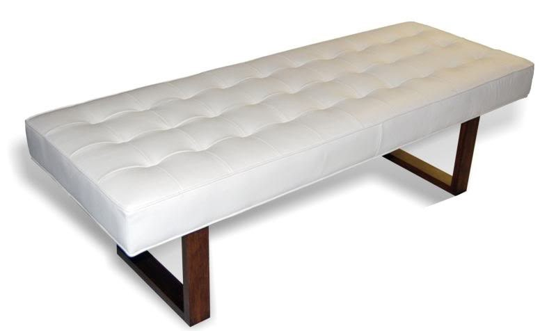 Retro modern white genuine leather bench ottoman coffee Ottoman bench coffee table