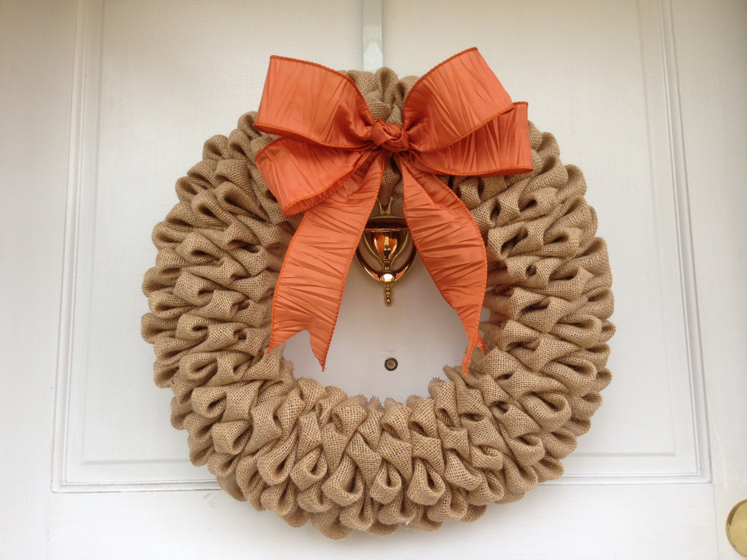 Light brown burlap wreath with orange bow fall wreath for Burlap wreath with lights