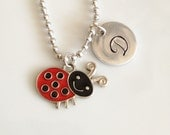Little Girl's Charm Necklace, Personalized Hand Stamped Initial Disc, Gift for Toddler, Child, Daughter, LadyBug, Bumble Bee, Butterfly, Sun