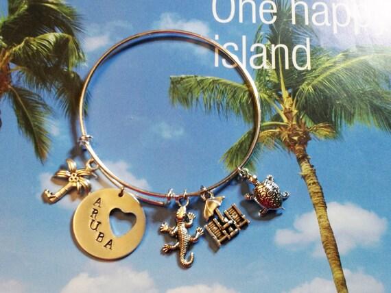 Aruba Beach Theme Adjustable Bangle, Stainless Steel, Women's Charm Bangle, Aruba Charm, Turtle, Iquana, Beach Chairs, Palm Tree, Silver