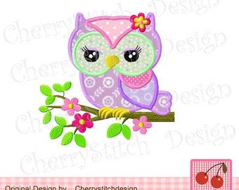 """Owl on a branch Spring Machine Embroidery Applique Design - 4x4 5x5 6x6"""""""