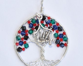 Tartan Tree Of Life Pendant (MacDonald) with Sterling Bagpipe Charm