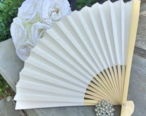 "Ivory Wedding Paper Fans for Wedding Pictures, Ivory Hand Fans, Outdoor Wedding Decor, Wedding Favor, Beach Wedding, 9"" Paper Fans, Beige"