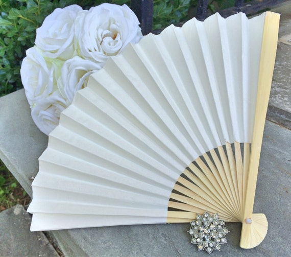 Ivory Wedding Paper Fans For Wedding Pictures Ivory Hand