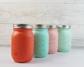 4- Hand Painted Pint Mason Jar Flower Vases-Island Paradise Collection- Cottage- Country Decor