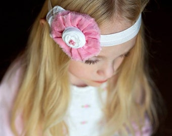 Pink White Headband Girl  Baby,  Antique Pink Fabric Ruffle with Rosette , Girs Hair Accessories