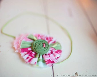 Pink  Green Raspberry Headband for Baby Girl / Fabric Frayed Flower Green  Rosette headband for girls and babies
