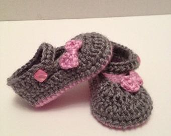 Crochet Baby Booties, Maryjanes, 0-3 Months