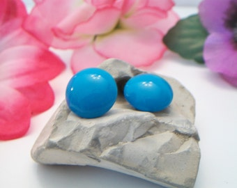 Classic Turquoise Blue Button Earrings Vintage Rockabilly Retro Dome Costume Jewelry