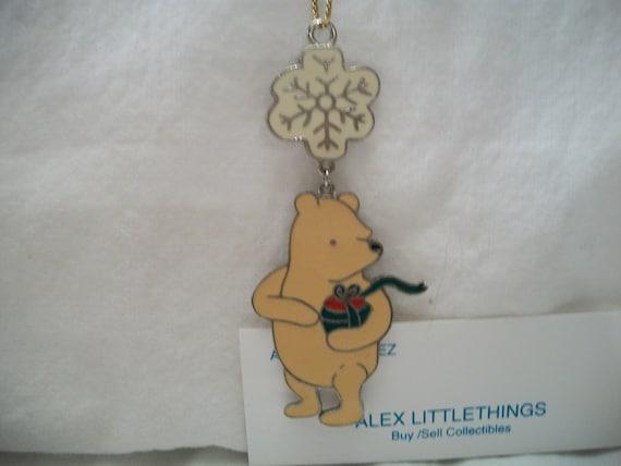 Vintage winnie the pooh disney flat metal christmas ornament