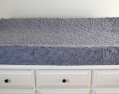 Carbon Gray Vine Cuddle Changing Pad Cover - Gray Vine Contoured Minky Cover - Personalized Changing Pad Cover