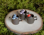 ONE Fairy Garden Miniature Watering Can with choice of dragonfly or lady bug for terrarium accessories