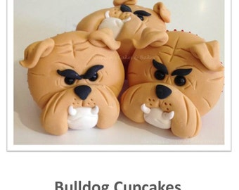 Bulldog Face Cupcakes PDF Tutorial