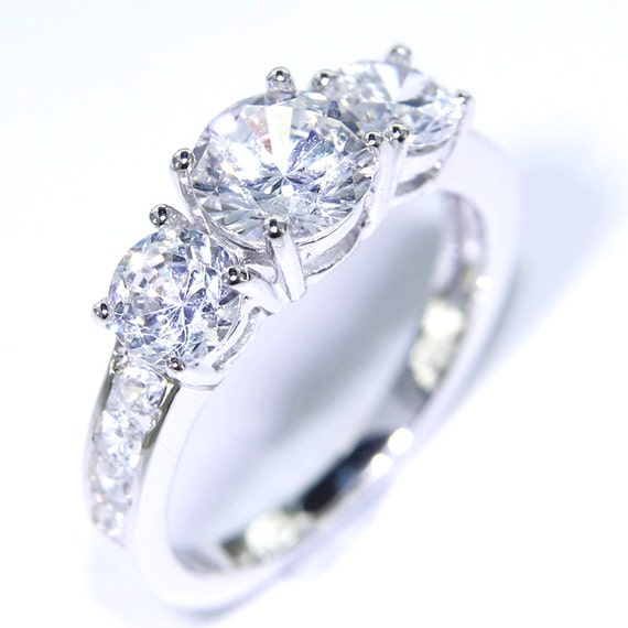Items similar to Moissanite Diamond 2 25 carats 3 stone 14K white gold enga