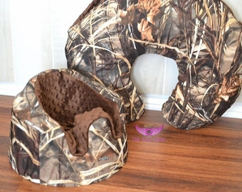 Real Tree Advantage Max 4 HD Camo and Brown Bumbo Cover and Boppy Pillow Cover Set